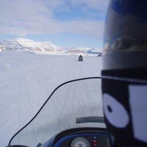 View from a snowmobile