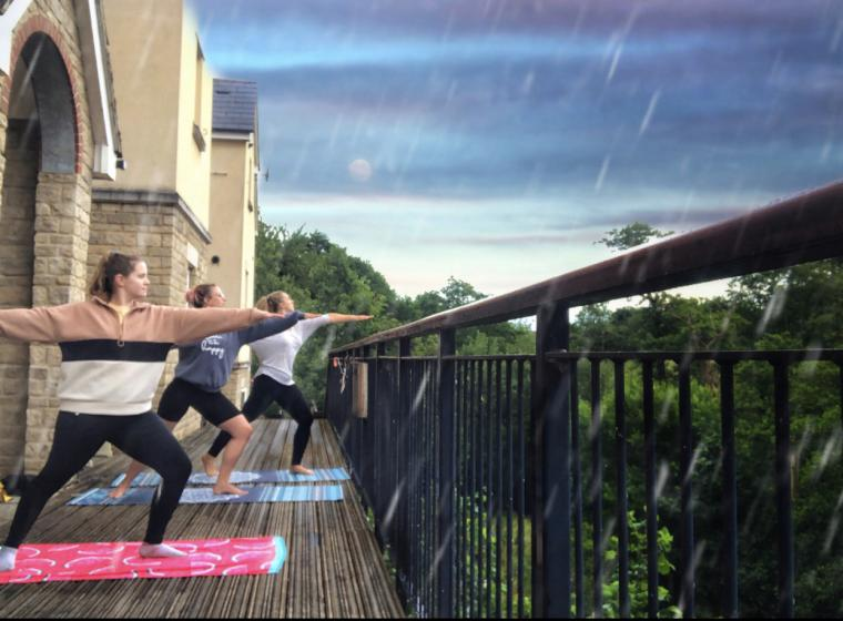 Yoga in the rain